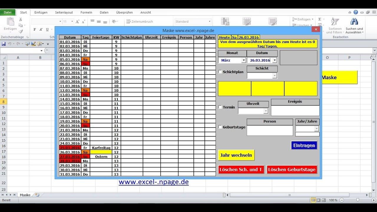 3 Terminkalender In Excel Selber Erstellen  Tabellenblatt