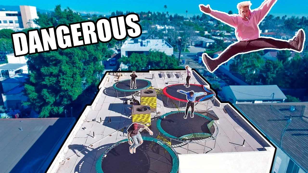 Rooftop Trampoline Park Homemade Youtube