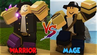 MAGE VS WARRIOR WHO IS BETTER? IN DUNGEON QUEST ALL NEW SPELLS IN THE CANALS ROBLOX