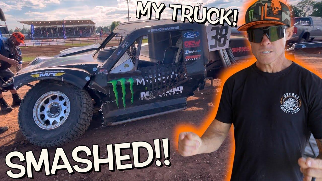 MY RACE TRUCK GOT SMASHED!!!