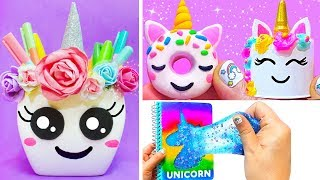 10 DIY UNICORN SCHOOL SUPPLIES for Back to School 2018 | Easy & Cute School Hacks