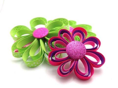 ribbon flower hair clip tutorial