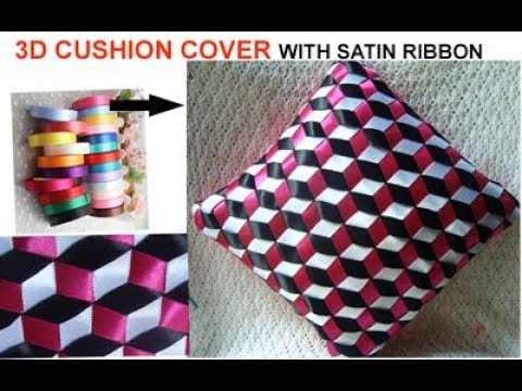 3D CUSHION COVER/ PILLOW COVER with satin ribbon (best out of waste)