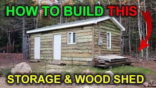 How to Build a Storage Shed and Wood Shed. Building a Cabin DIY - Video 5