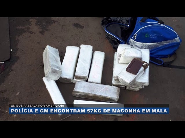 Ônibus passava por Americana: polícia e GM encontram 57kg de maconha em mala