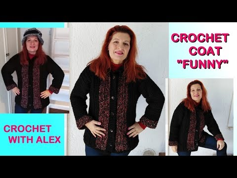 """CROCHET JACKET COAT """"FUNNY"""" the easiest  any size and yarn tutorial Alex"""