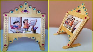 Easy Photo Frame with Popsicle / ice cream sticks, Room Decor ideas using simple craft trick