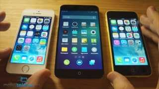 Meizu MX3 vs iPhone 5S vs iPhone 5C: обзор-сравнение (review & comparison)