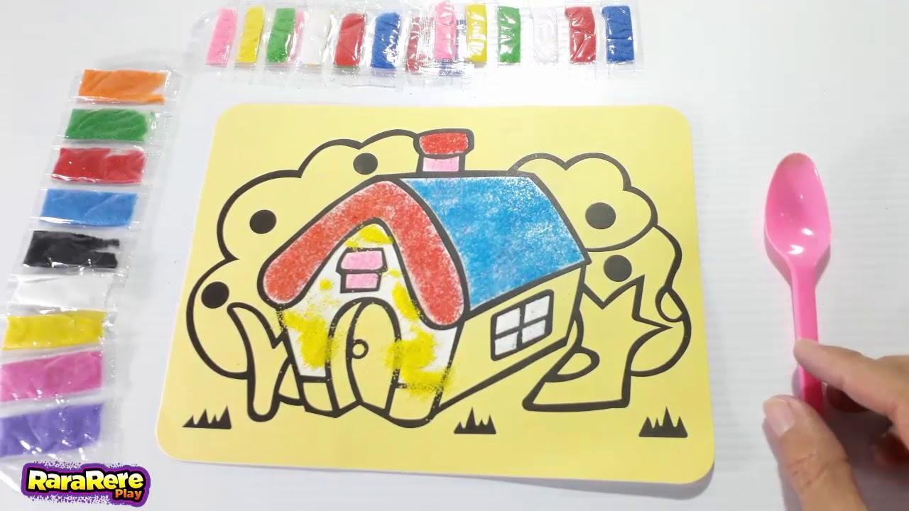 Pasir Warna Mewarnai Gambar Rumah Impian