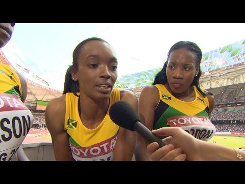 WCH 2015 Beijing - Team Jamaica 4x400m Relay Women Heat 1