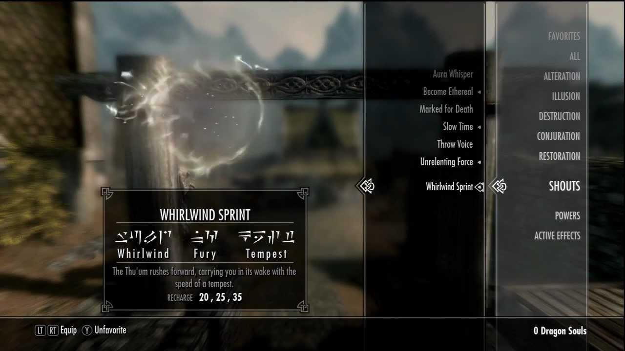 skyrim whirlwind sprint shout youtube