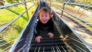 さむくても、元気いっぱい外遊び❤︎お出かけひーたん公園に遊びに行ったよ〜長い滑り台に挑戦しよう!!Play with the playground equipment in the park