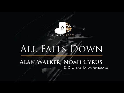 Alan Walker, Noah Cyrus - All Falls Down - Piano Karaoke / Sing Along / Cover with Lyrics