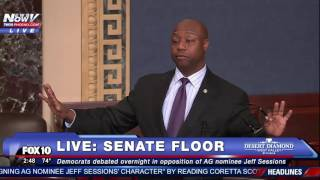 FNN: Sen. Tim Scott Explains His SUPPORT for Jeff Sessions as a Black Man, Reads RACIST Hate Tweets Free HD Video
