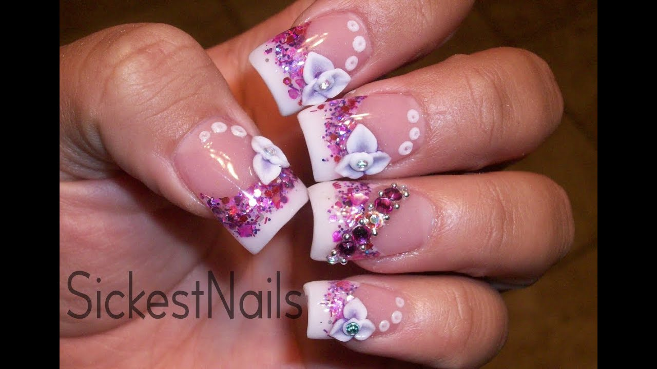 ♥My Acrylic Nails- Pink Purple 3d flower/ Mis Uñas Acrilicas -Flor ...