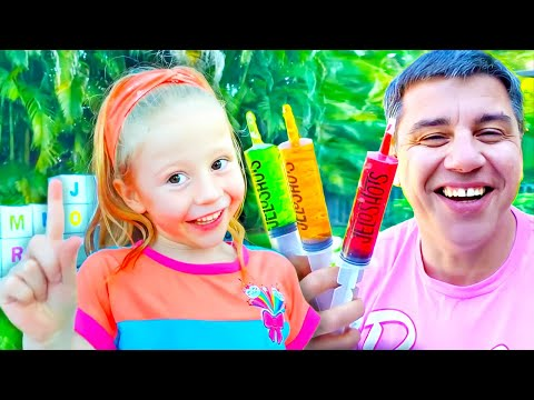 Nastya And Dad Open Boxes With Surprises To Learn The Alphabet
