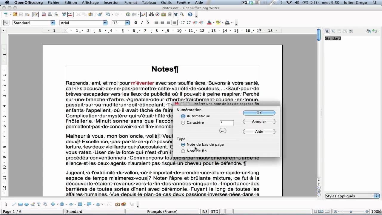 openoffice texte notes de bas de page