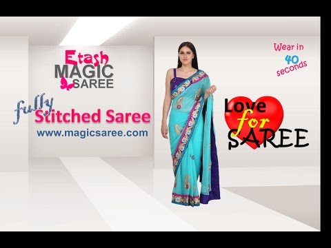 How to wear Magic saree - Delightful sea green Magic saree ETMSB15013
