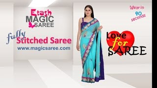 How to wear Magic saree - Delightful sea green Magic saree ETMSB15013