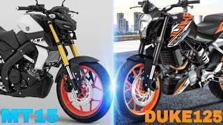 KTM DUKE 125 VS MT15   DUKE 125 VS MT15 COMPARISON   RICH INDIA MOTO