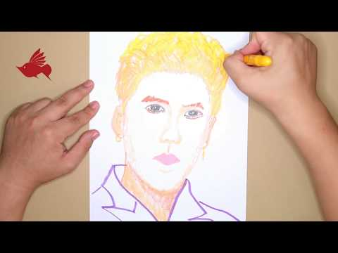 How to Paint the Chinese film star LuHan with Oil Pastel color | step by step