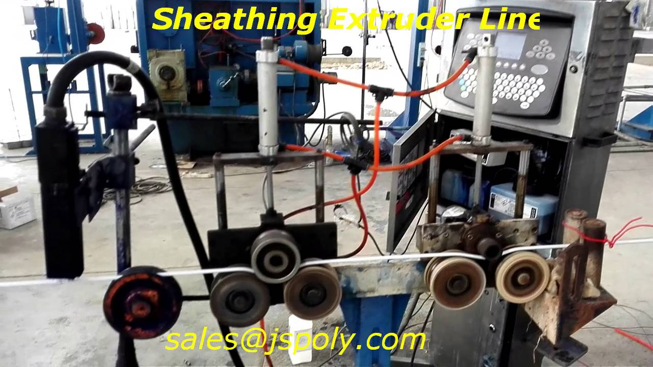 building wire sheathing extruder line - YouTube