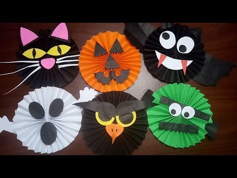 6 EASY AND FUN HALLOWEEN CRAFTS WITH PAPER / DIY PAPER ROSETTE CRAFTS / HALLOWEEN CRAFTS
