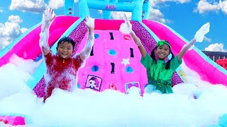 Wendy Pretend Play at the Bubble Foam Party & Giant Inflatable Jumping Slide Toy For Kids
