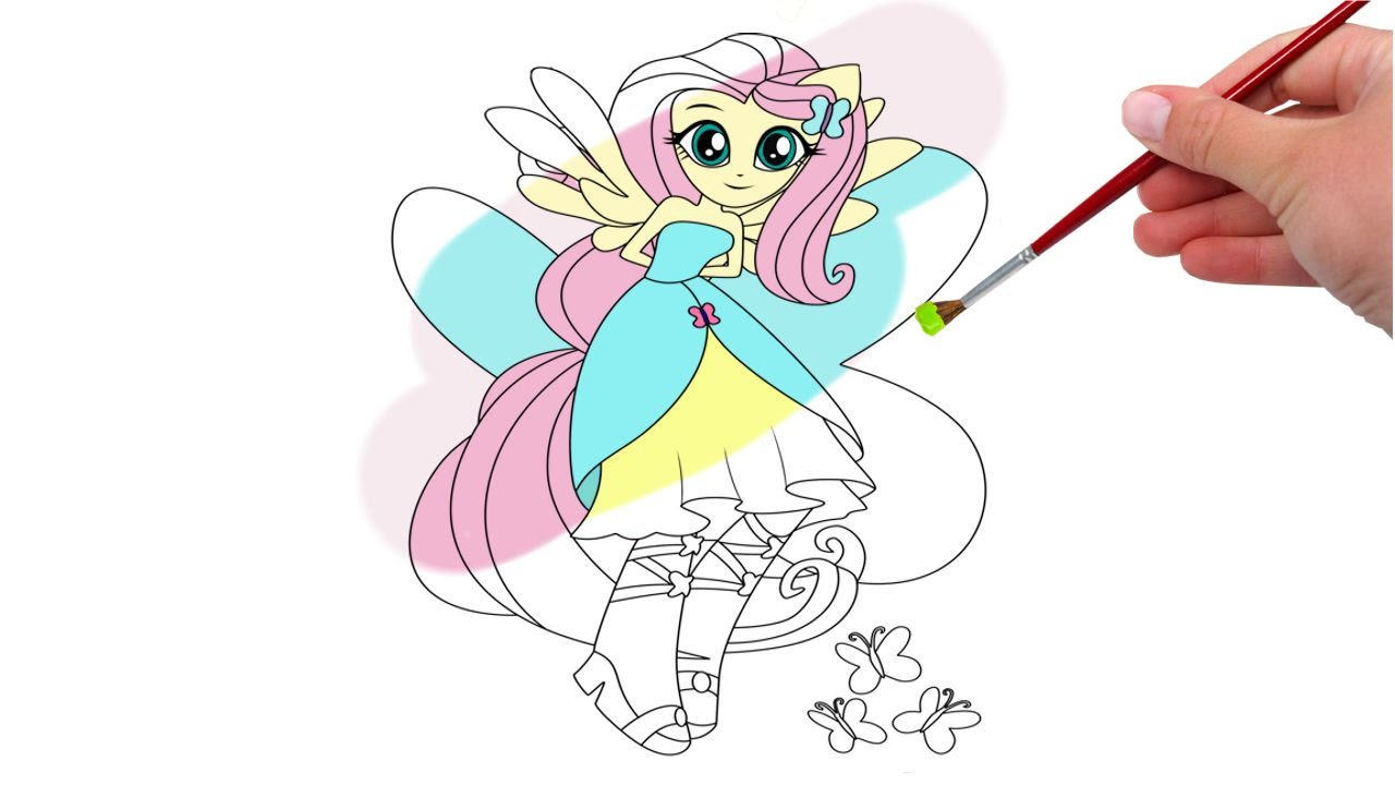 my little pony coloring pages fluttershy equestria girls youtube