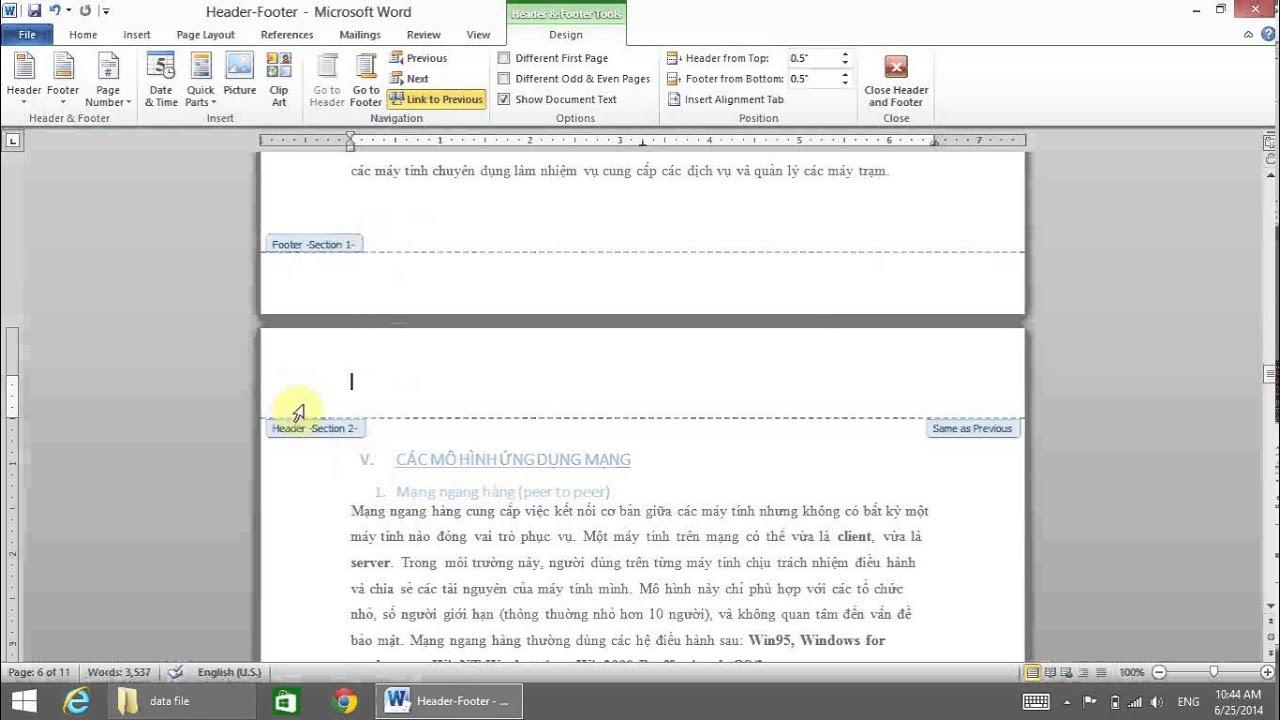Hướng dẫn cách làm Header và Footer đẹp trong Word 2010