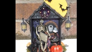 Mr Skeleton In His Parlor Halloween Shadowbox House by Liz