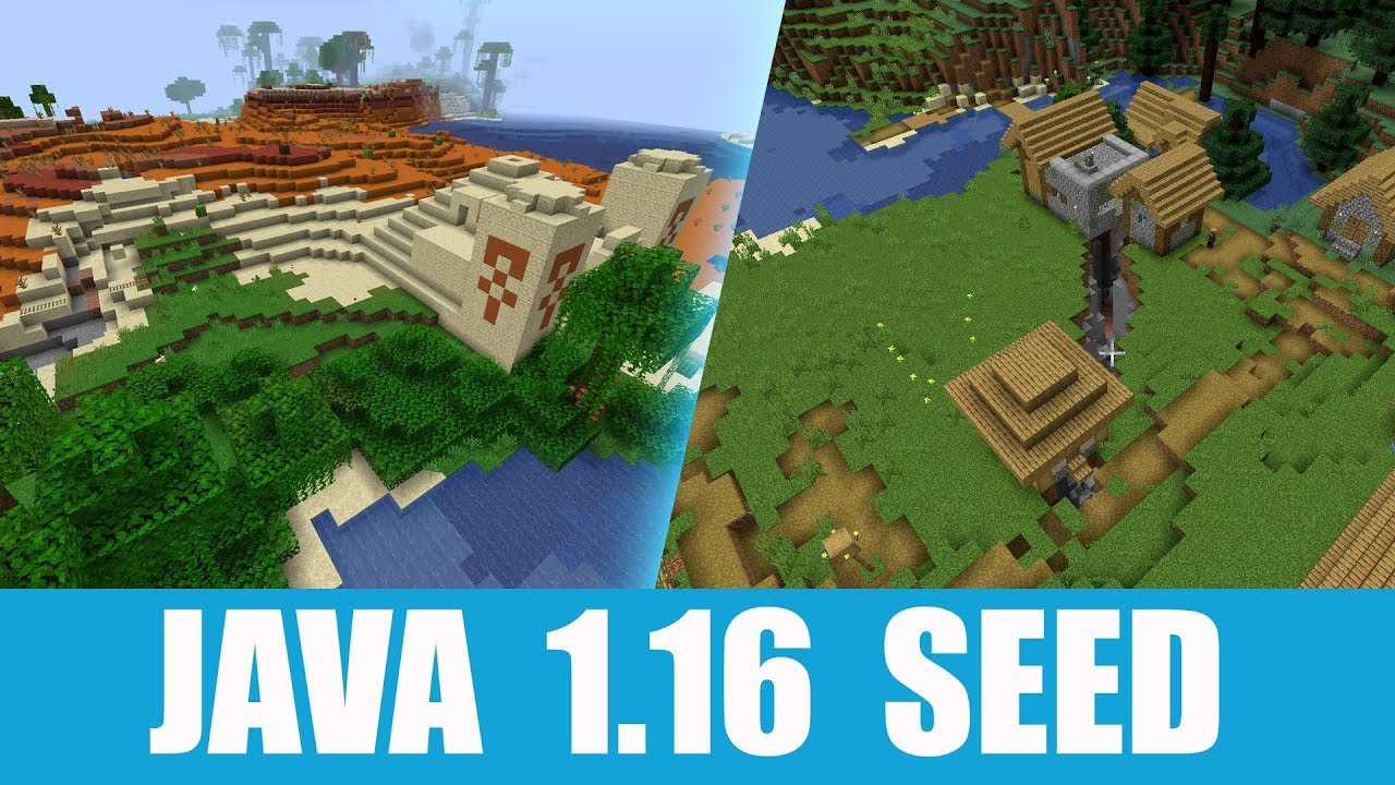 Minecraft Java 1 16 Seed Village Stands On A Ravine And Desert Temple Near Exposed Mineshaft Youtube
