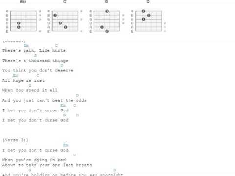 I Bet You Dont Curse God Christina Grimmie Guitar Chords Youtube