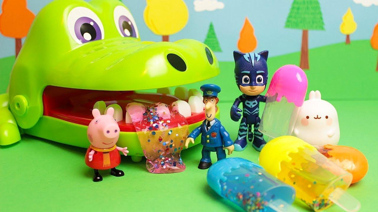 Cocco dentista mangia i gelati di slime peppa e molang lo