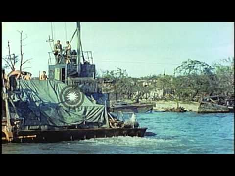 US Fleet Admiral Ernest King and Admiral Richmond Turner tour the island after th...HD Stock Footage