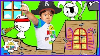 Ryan's Pretend Play Pirate Ship with EK Doodles Animation!!!
