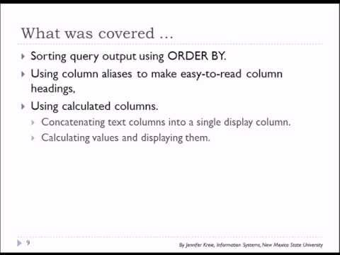 10 of 15 SQL Basics with Oracle - Sort, Combine columns, Column Aliases
