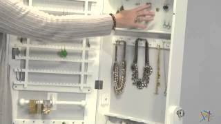 Transitional Cheval Mirror Jewelry Armoire With Base Drawer - Product Review Video