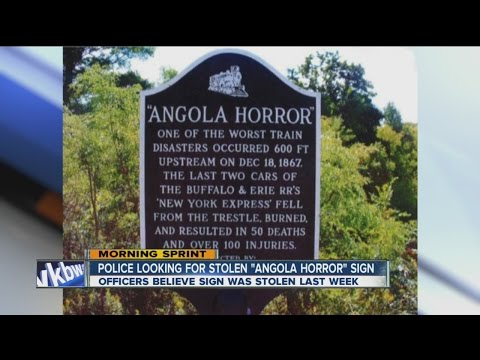 """Police search for stolen """"Angola Horror"""" sign"""