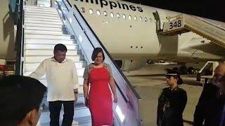 נחיתת ביקור נשיא ה פיליפינים ב ישראל רודריגו דוטרטה ו בתו איוב קרא שר התקשורת