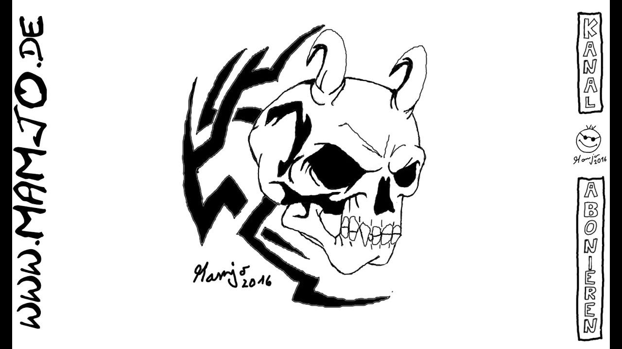 Skull Evil Teufel Totenkopf Zeichnen Malen Skizze Tutorial Lernen