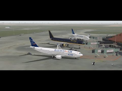 AIRBUS A330 200 BATAVIA AIR TAKE OFF FROM SOEKARNO HATTA INTL AIRPORT FS9 HD