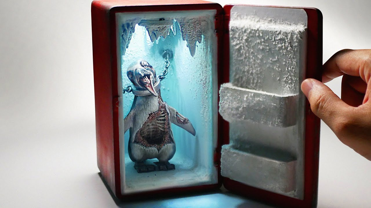 How To Make a Zombie Penguin In The Refrigerator Diorama / Polymer Clay