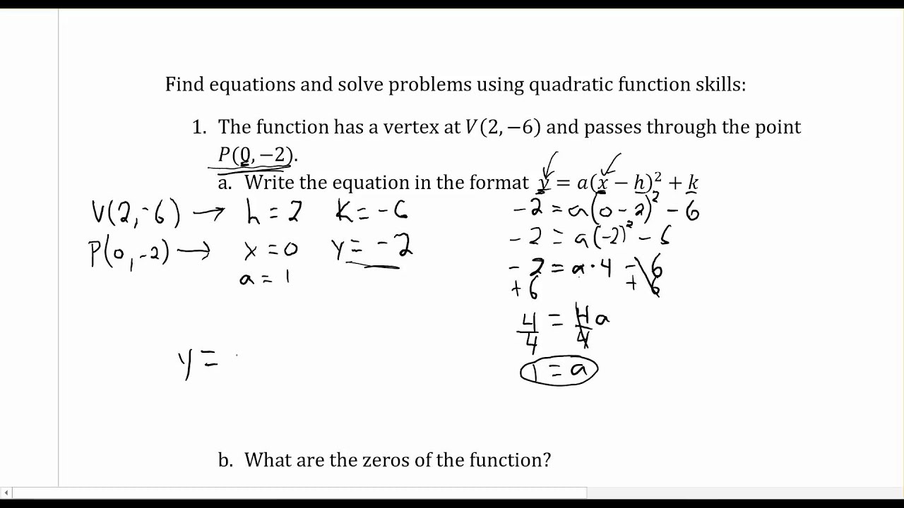 hight resolution of Quadratic Equations - Mr. Brown's Website