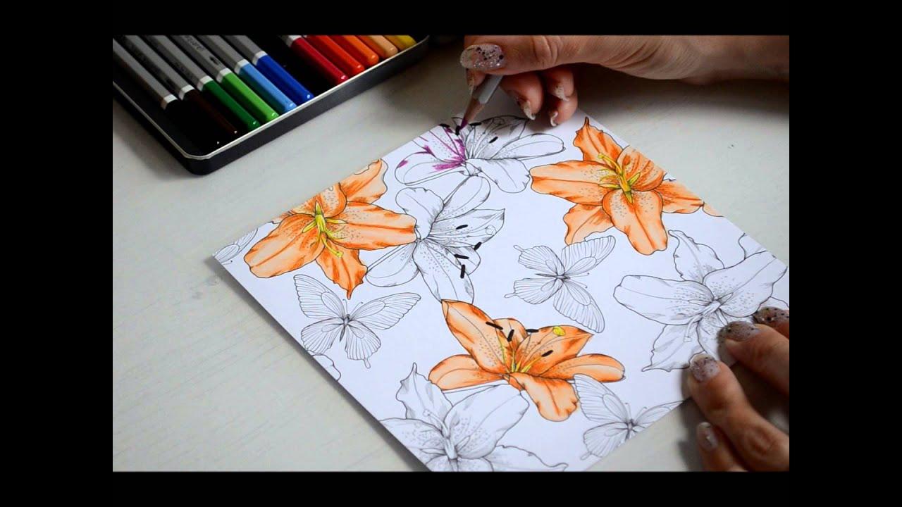 Het Inkleuren Van Bloemen En Afwerken Met Penseel