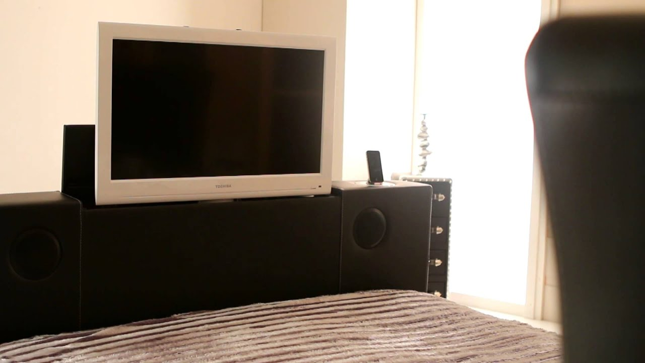 New Black Double Leather Music TV Bed With Built In Speakers and
