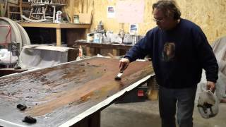 Stripping A Large Dinning Table  By  Timeless Arts Refinishing 616 453 8309 Grand Rapids Mi