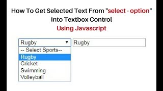 Javascript HTML element get selected select option text value notepad ++