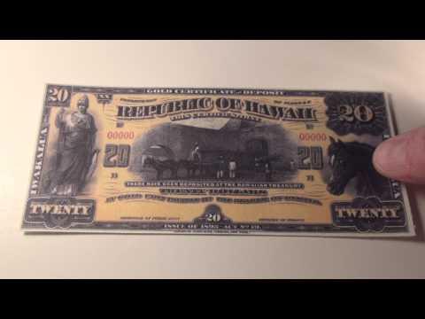 1895 $20 Republic of Hawaii Gold Certificate Note