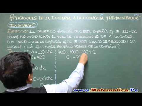 APLICACIONES DE LA INTEGRAL INDEFINIDA A LA ECONOMIA Y ADMINISTRACION- INGRESO-PROBLEMA R